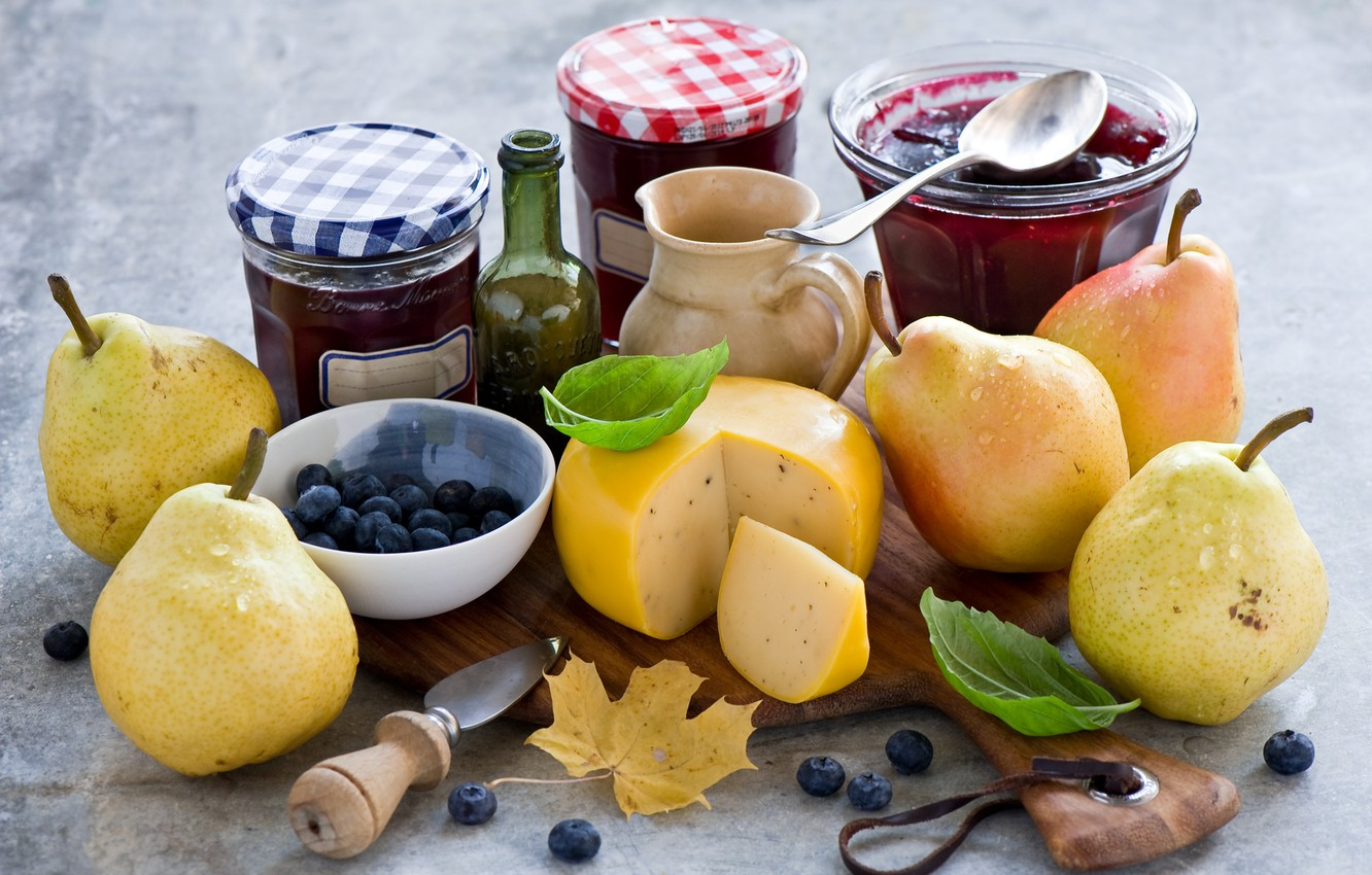 Photo wallpaper berries, cheese, leaves, still life, pear, jam, blueberries