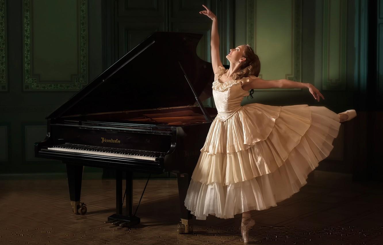 Photo wallpaper dance, piano, ballerina, Evelina Godunova