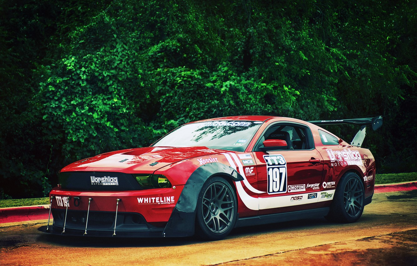 Photo wallpaper Mustang, Ford, red, front, race car, kit