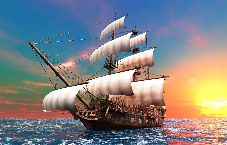 Photo wallpaper the sun, the ocean, dawn, graphics, ship, sailboat, sails, brig, mast, the bowsprit