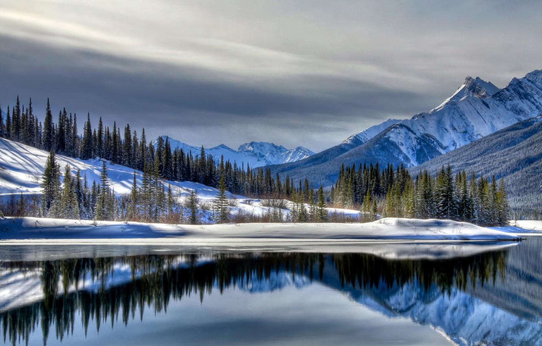Photo wallpaper winter, snow, mountains, lake, landscape, winter, snow