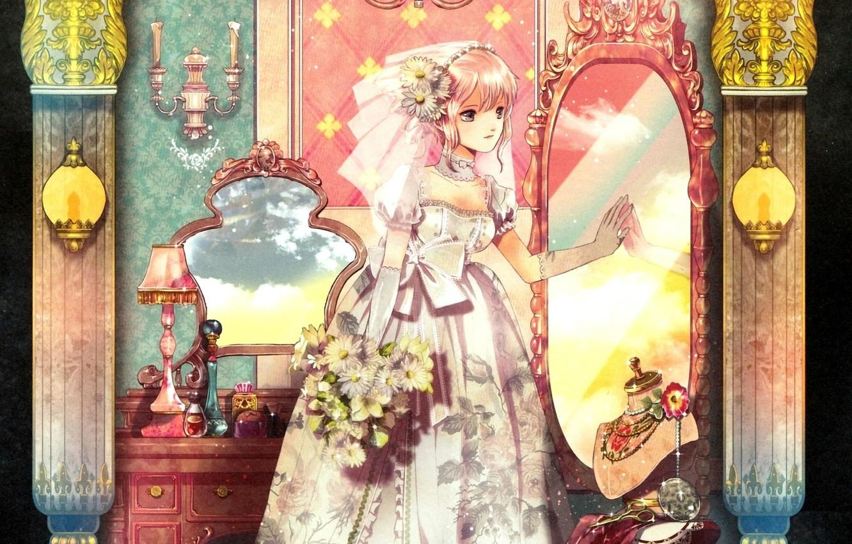 Photo wallpaper decoration, mirror, the bride, veil, wedding dress, candlesticks, gloves elbow, boudoir, the bride's bouquet, by …