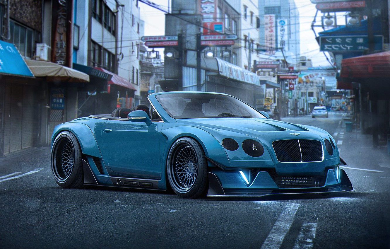 Photo wallpaper Bentley, Continental, Blue, Tuning, Future, Stance, by Khyzyl Saleem