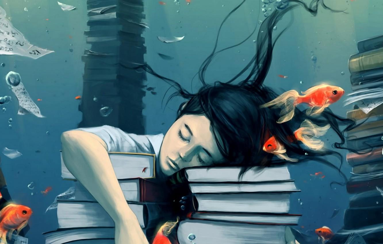 Photo wallpaper water, fish, dreams, bubbles, calm, study, books, sleep, Girl