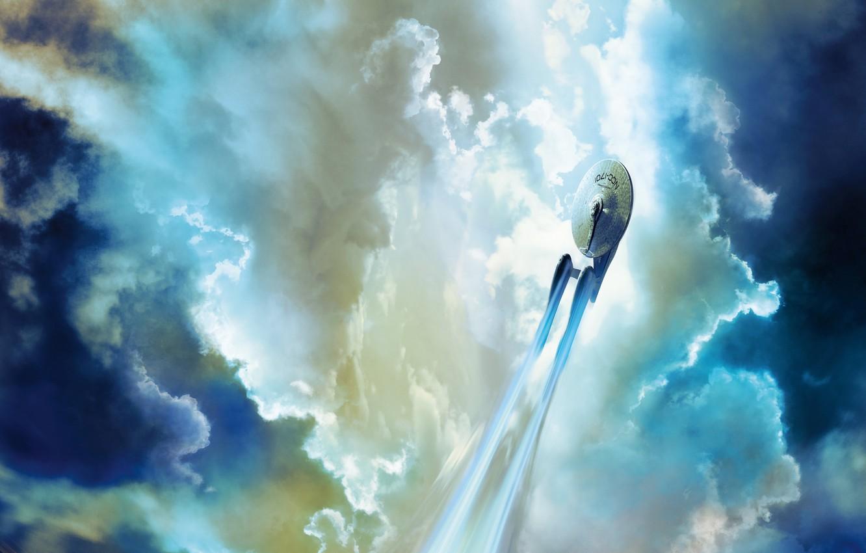 Photo wallpaper the sky, clouds, flight, fiction, Enterprise, Star trek, Star Trek, spaceship, Starship, Spacecraft, NCC 1701