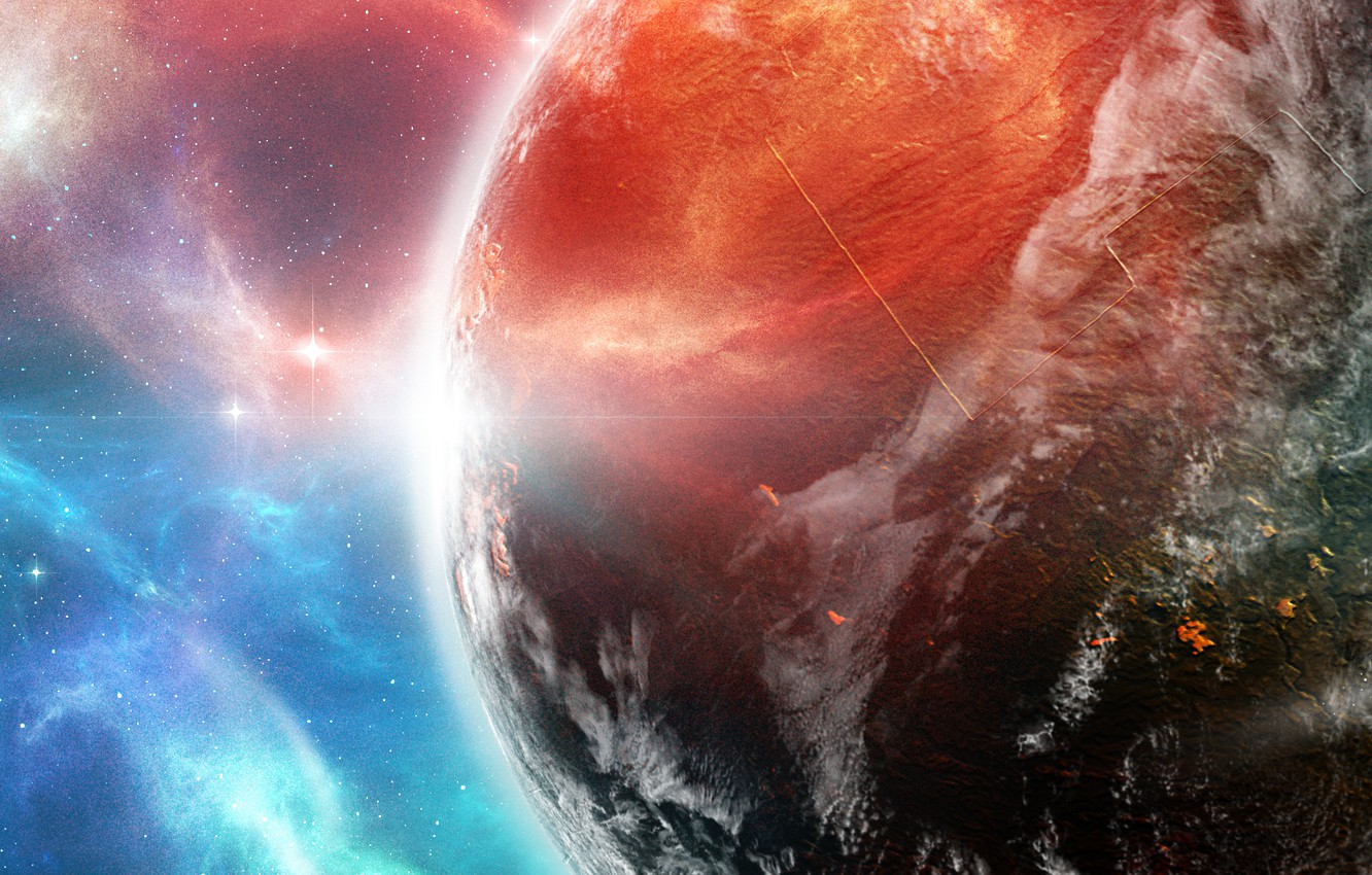 Photo wallpaper space, planet, ship, the atmosphere, panorama, space