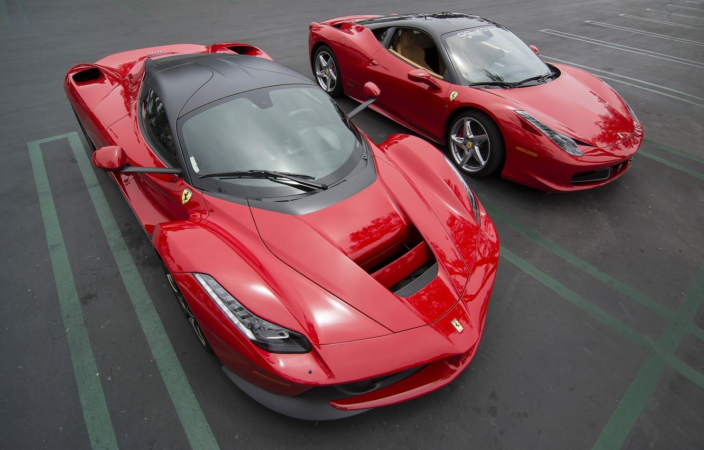 Photo wallpaper red, Ferrari, Ferrari 458 Italia, Sports Cars, Ferrari LaFerrari