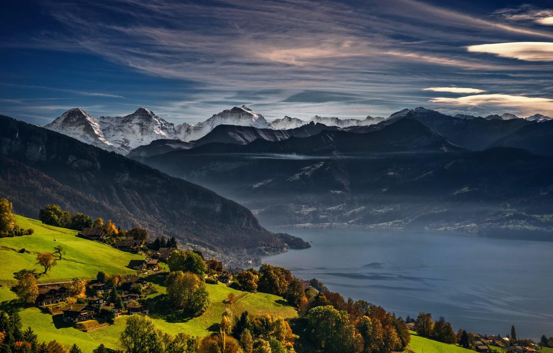 Wallpaper Autumn Mountains Lake Switzerland Alps