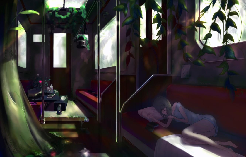 Photo wallpaper flower, girl, train, roses, plants, cell, anime, art, the car, lies, pillow, book, kikivi