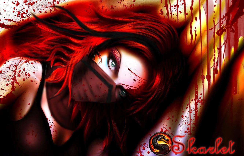 Photo wallpaper look, girl, blood, the game, mask, art, green eyes, Mortal Kombat, red hair, Skarlet