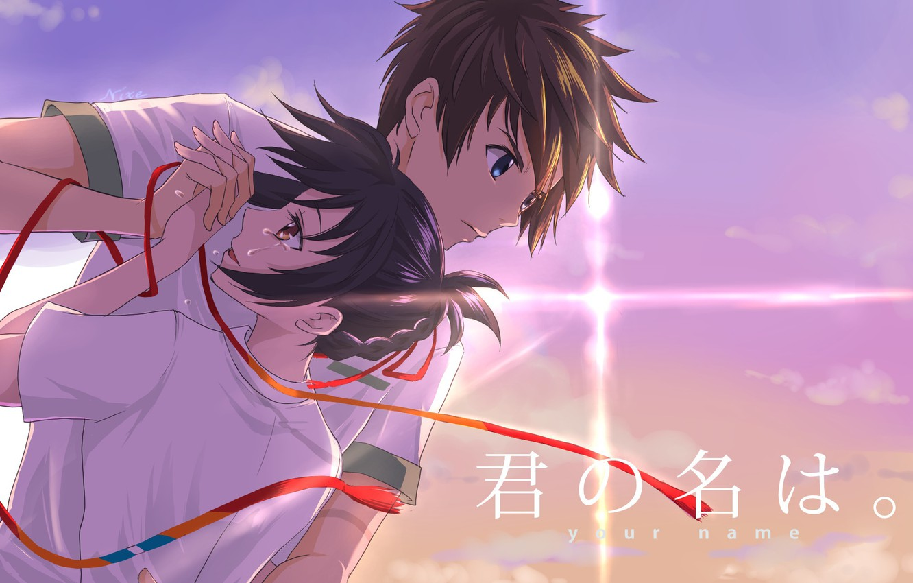 Photo wallpaper girl, romance, anime, art, guy, Kimi no VA On, Your name