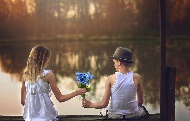 Photo wallpaper flowers, boy, girl, date