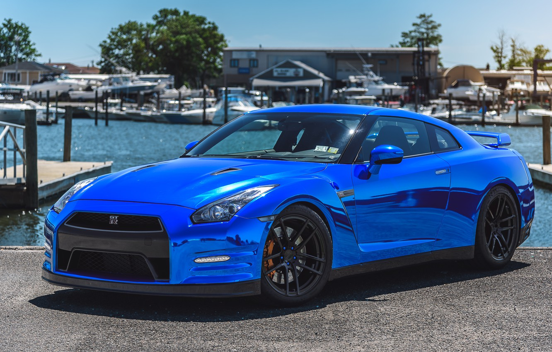 Photo wallpaper GTR, Nissan, Blue, Forged, Chrome, Incurve