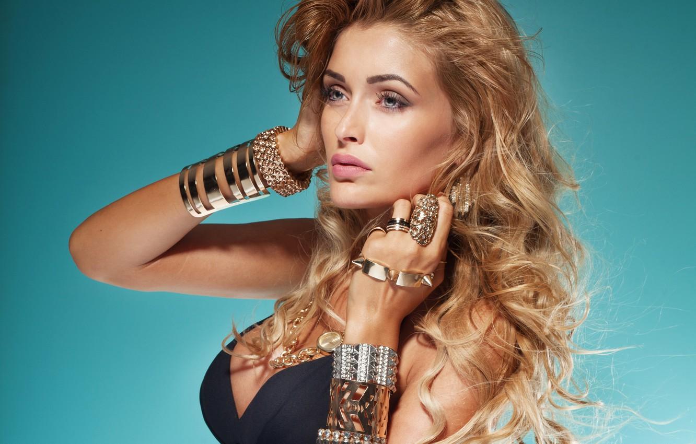 Photo wallpaper look, girl, decoration, background, model, ring, makeup, bracelets, blonde. curls