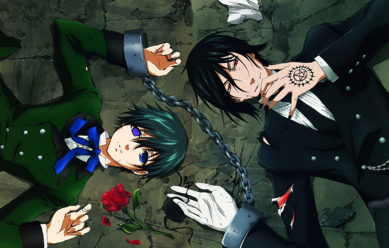 Photo wallpaper the demon, anime, kuroshitsuji, Sebastian, Ciel, dark Butler, the deal, sebastian