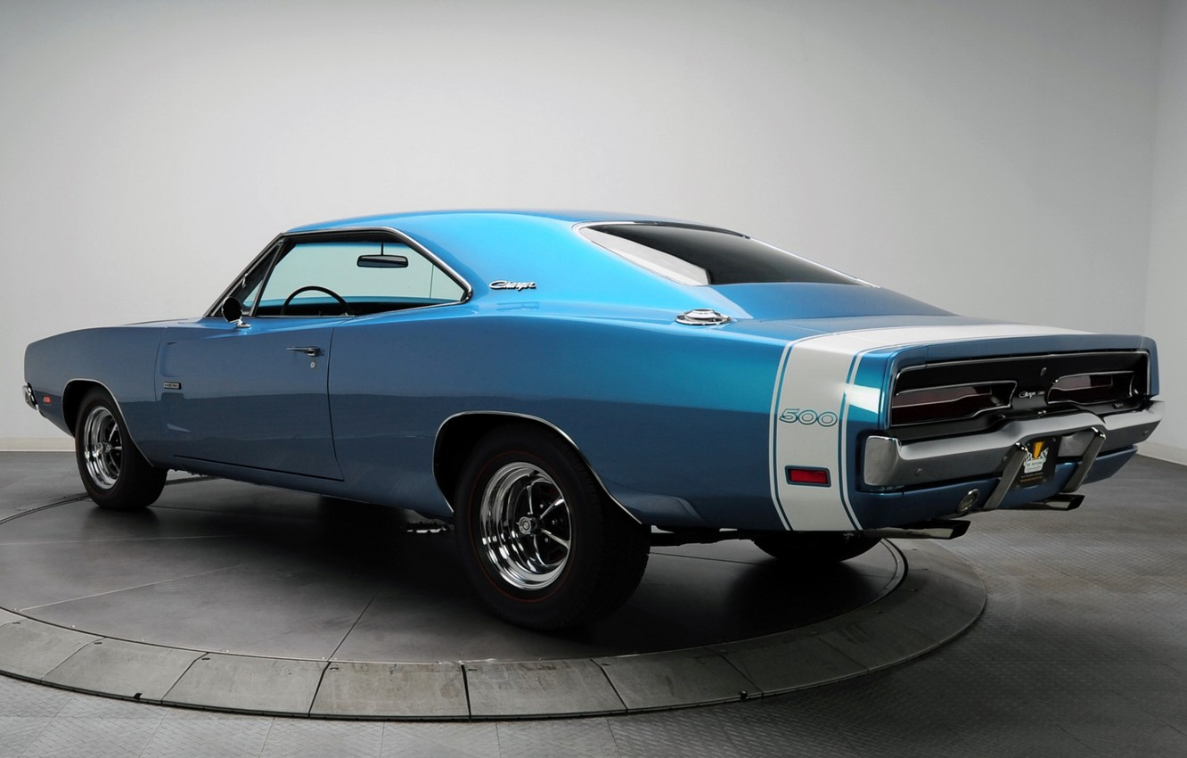 Photo wallpaper background, Dodge, 1969, Dodge, Charger, 500, Muscle car, Muscle car, Hemi, The charger, rear view.blue
