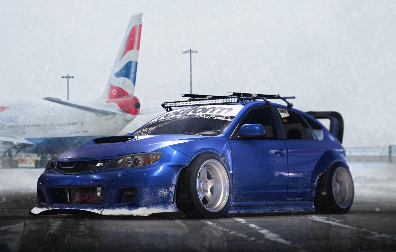 Photo wallpaper Subaru, Impreza, WRX, Blue, STI, Snow, Stance