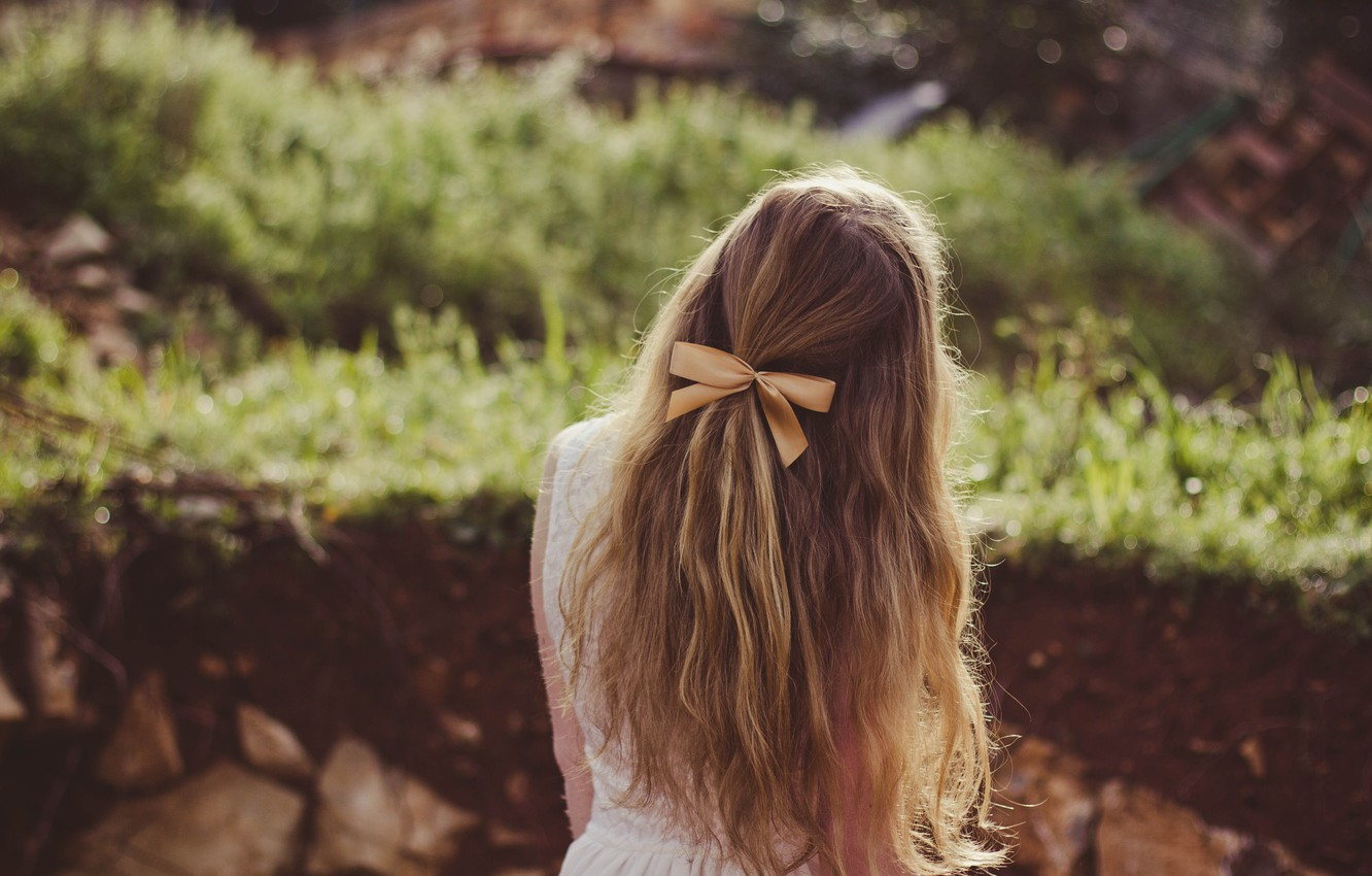 Photo wallpaper girl, hair, bow