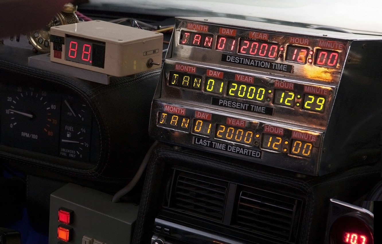 Photo wallpaper background, Back to the future, The DeLorean, DeLorean, DMC-12, scoreboard, Back to the Future, Time …