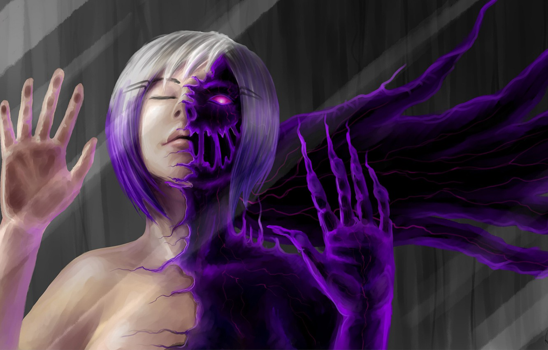 Photo wallpaper girl, magic, the demon, art, demoness, burning eyes