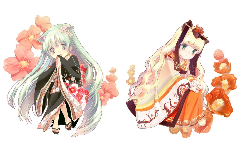 Photo wallpaper flowers, Japan, kimono, neko, Hatsune Miku, Vocaloid, Vocaloid, Hatsune Miku, SeeU