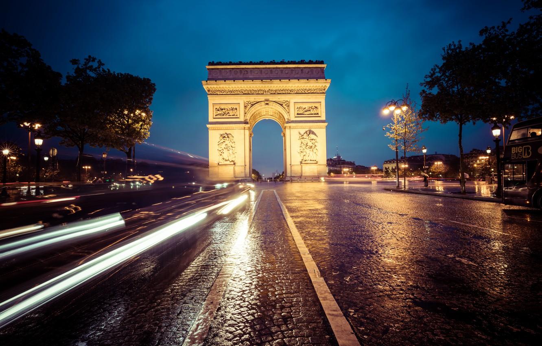 Photo wallpaper auto, the sky, clouds, trees, night, street, lights, France, Paris, bus, Arc de Triomphe, Champs-Élysées