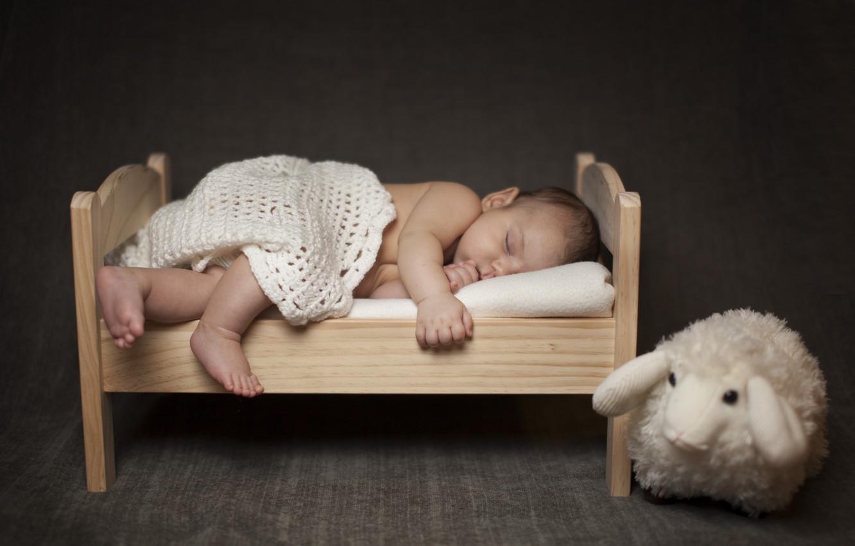 Photo wallpaper children, toy, sleep, baby, sleeping, shawl, child, baby, sheep, cot