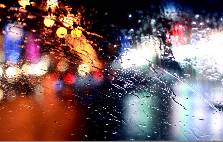 Photo wallpaper glass, lights, rain, rain, bokeh