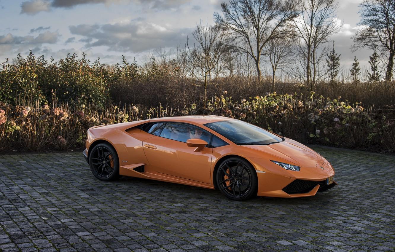 Photo wallpaper Lamborghini, Orange, Huracan, LP610-4