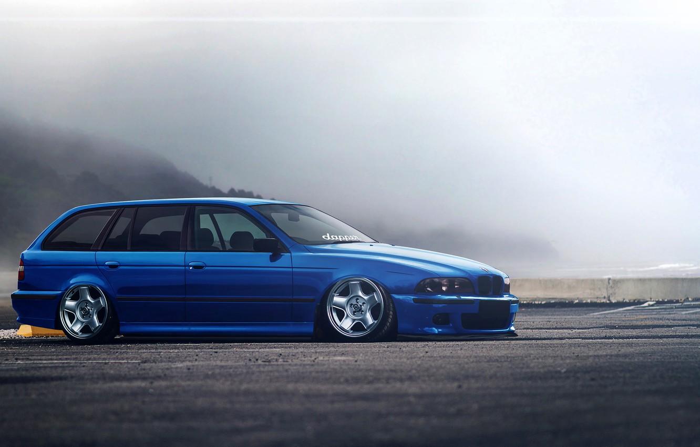 Photo wallpaper BMW, Blue, E39, Stance, Low, Estate, Hugo Silva