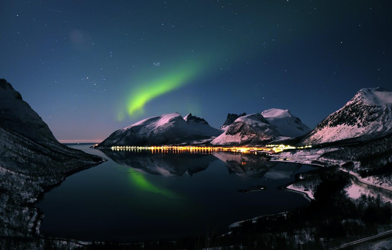 Photo wallpaper winter, mountains, night, Northern lights