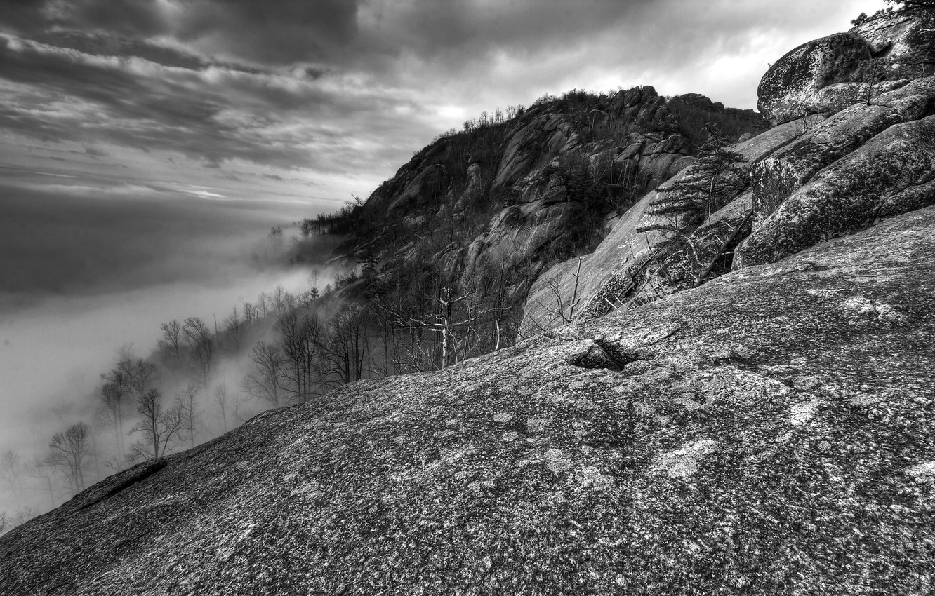 Photo wallpaper black and white, Clouds, Mountains, Fog, VA, Old Rag