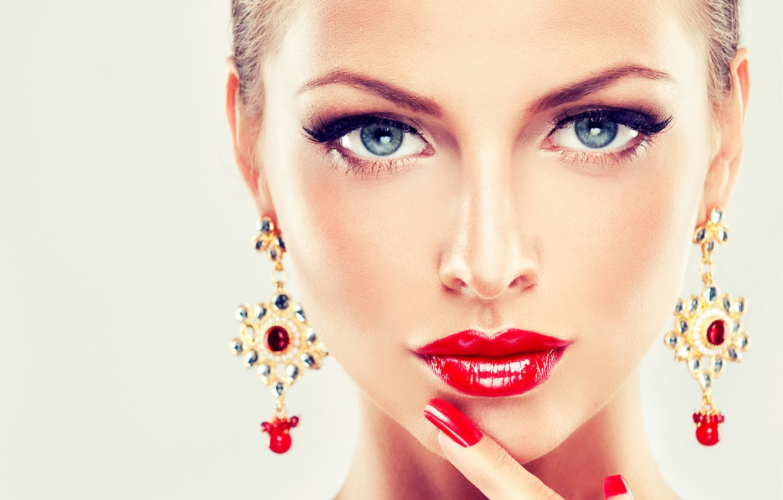 Photo wallpaper girl, decoration, face, woman, girl, woman, beautiful, lips, face, person, jewelry