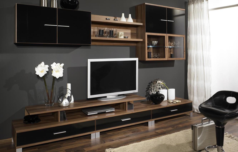 Photo wallpaper design, room, tree, furniture, interior, TV, wardrobe, brown, wall