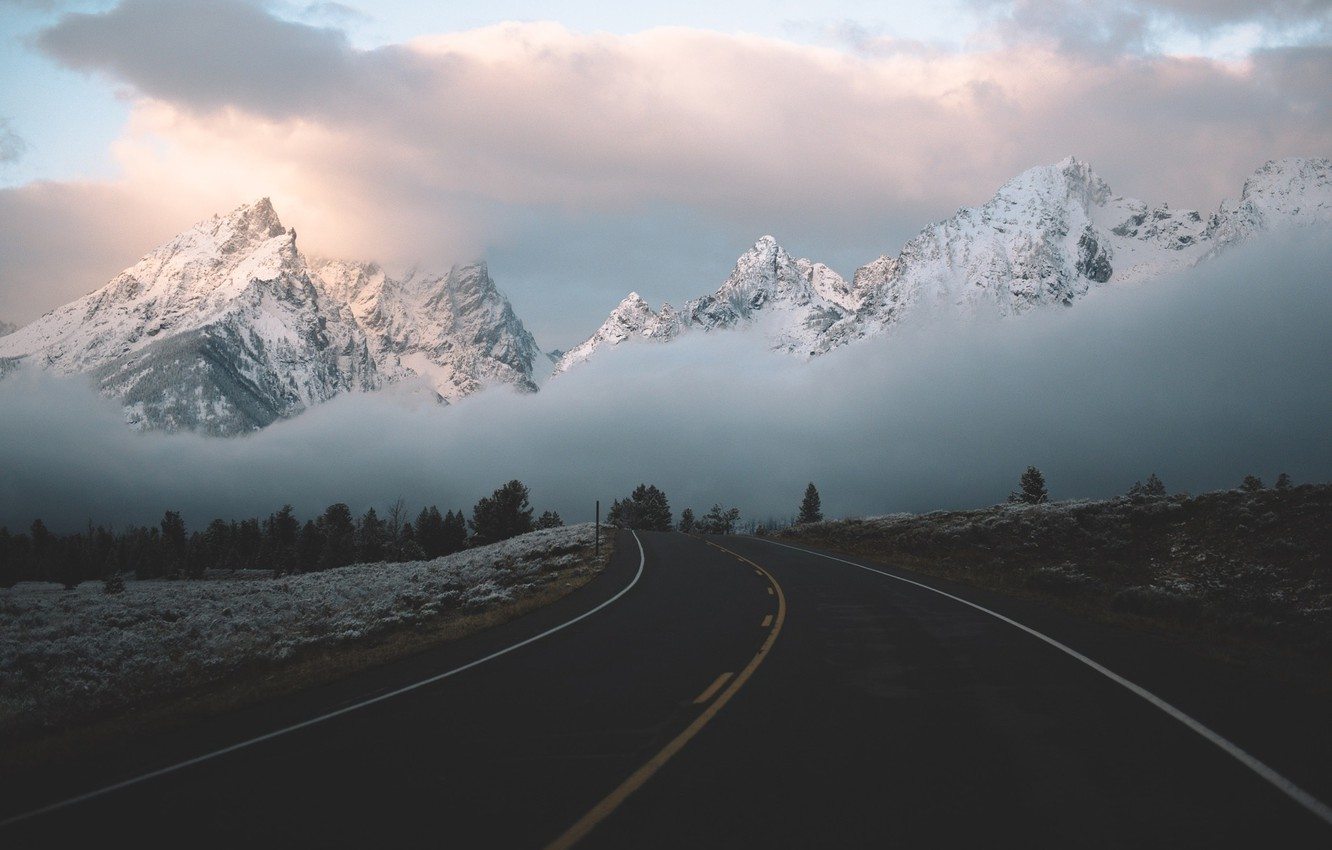 Photo wallpaper road, clouds, mountains, fog