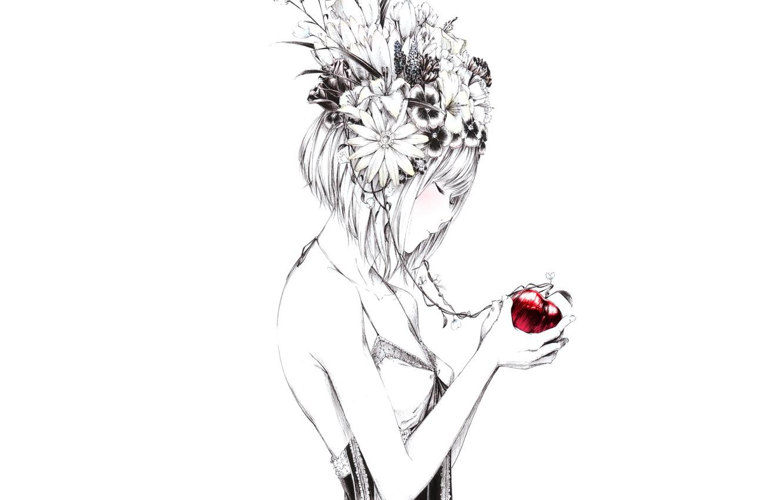 Photo wallpaper flowers, figure, Apple, Girl, art, Sawasawa