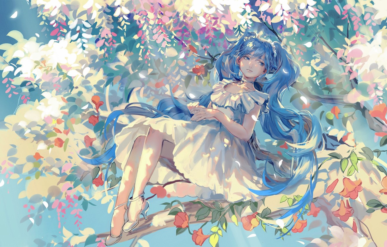 Photo wallpaper girl, flowers, smile, tree, branch, anime, art, vocaloid, hatsune miku, rrr