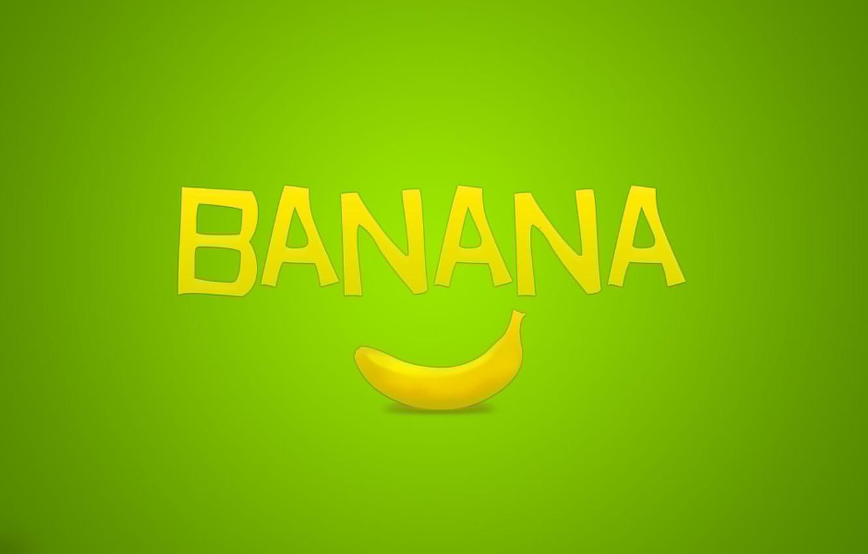 Photo wallpaper the inscription, minimalism, fruit, green, banana