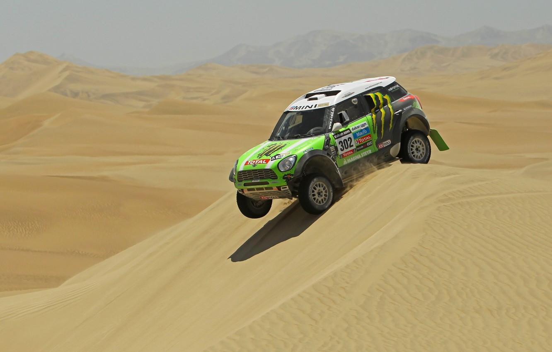 Photo wallpaper green, Sport, Desert, Mini Cooper, Rally, Dakar, Dakar, Rally, MINI, Mini Cooper, Dune, X-raid