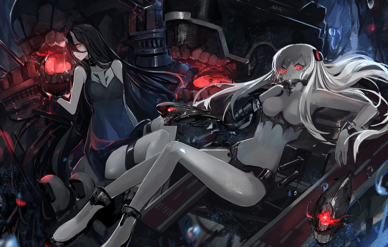 Photo wallpaper Kantai Collectio., Characters: Airfield Hime, Battleship-Symbiotic Hime, Ni-Class Destroyer, Ro-Class Destroyer, X, Artist: saberiii