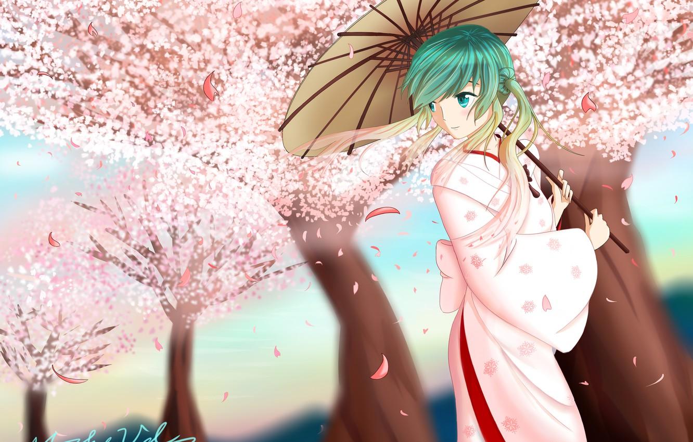 Photo wallpaper girl, trees, umbrella, petals, Sakura, art, kimono, vocaloid, hatsune miku, Vocaloid, mikevd