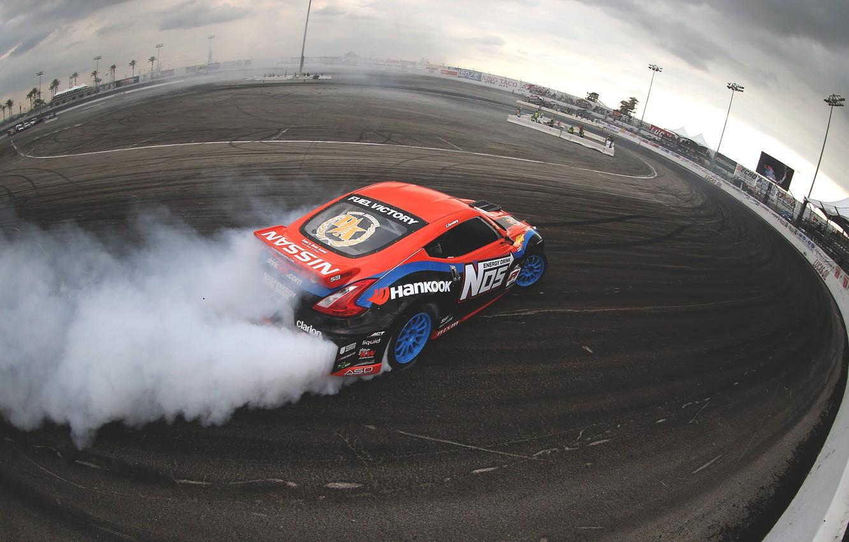 Photo wallpaper smoke, skid, nissan, drift, drift, smoke, Nissan, 370z, slide