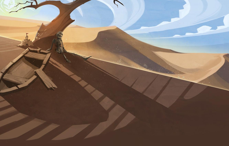 Photo wallpaper tree, desert, boat, skeleton, steam