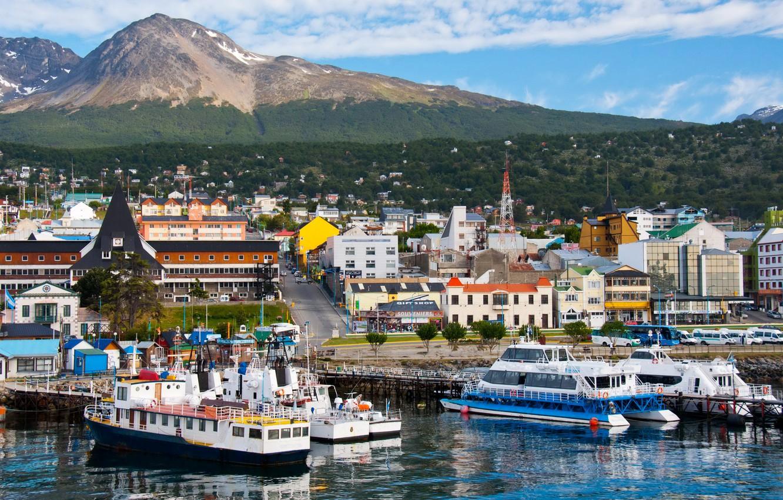 Photo wallpaper landscape, mountains, home, ships, port, Argentina, piers, Ushuaia