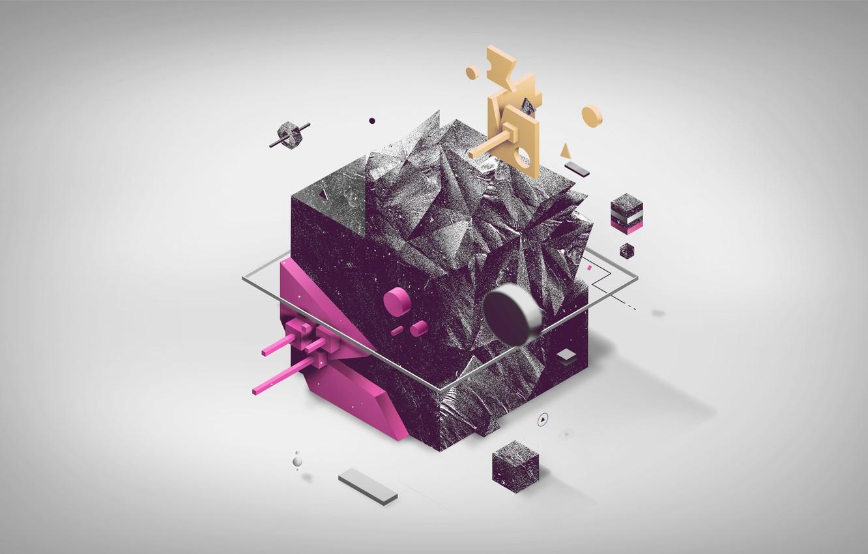 Photo wallpaper black, pink, cube, cube