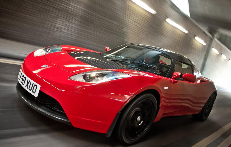 Photo wallpaper Roadster, Red, Road, Sport, Machine, Movement, Red, Car, Car, Cars, Tesla, Sport, Road, Roadster, UK-spec, …
