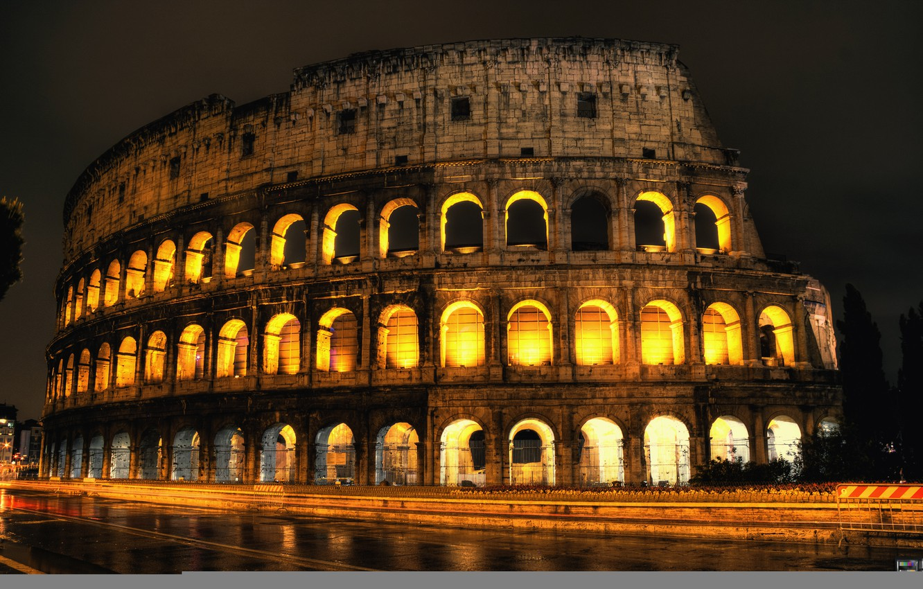 Photo wallpaper road, night, lights, backlight, Colosseum, Italy, Rome, condezine