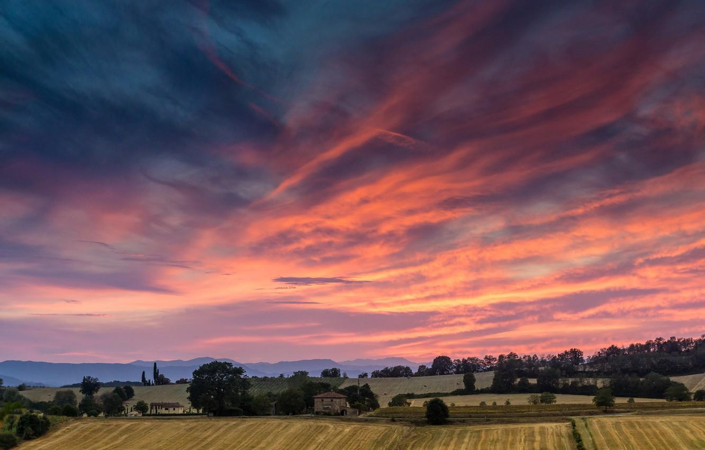 Photo wallpaper field, sunset, Italy, Sunset, Tuscan