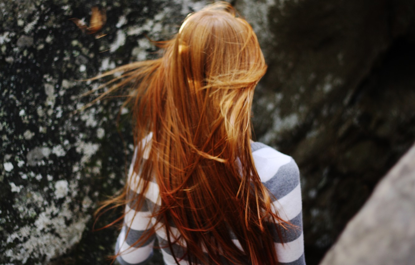 Photo wallpaper girl, background, the wind, Wallpaper, mood, red