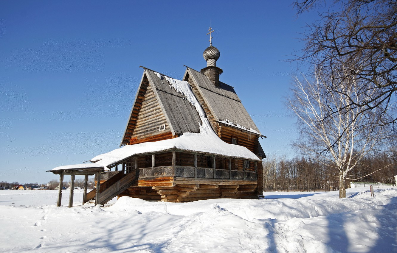 Photo wallpaper snow, the city, Winter, temple, wooden, Russia, Suzdal, The Church of St. Nicholas, monastery. Cathedral